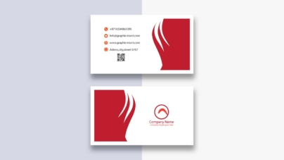 red white visiting card
