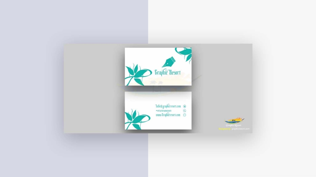 Decorative Green Business Card Free Vector