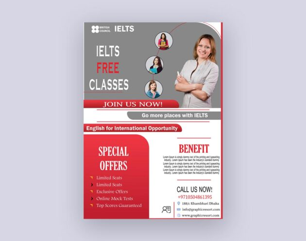Ielts course Flyer design From Vectorpie Vol2 Preview