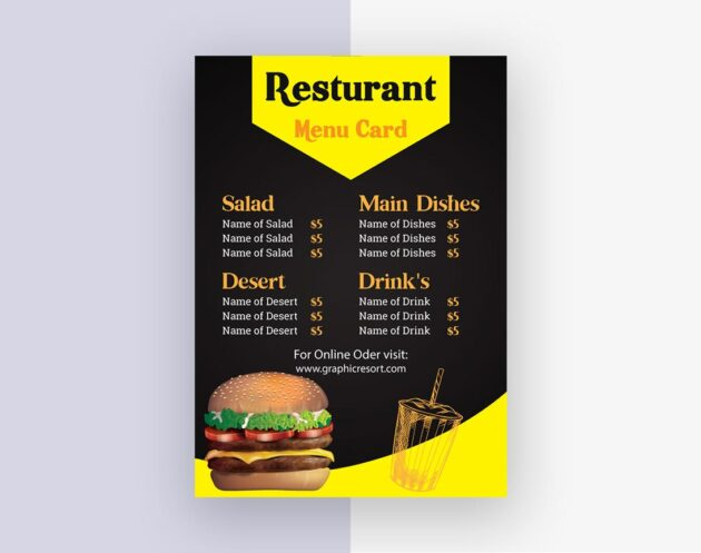 Preview menu card designed by Vector pie 4