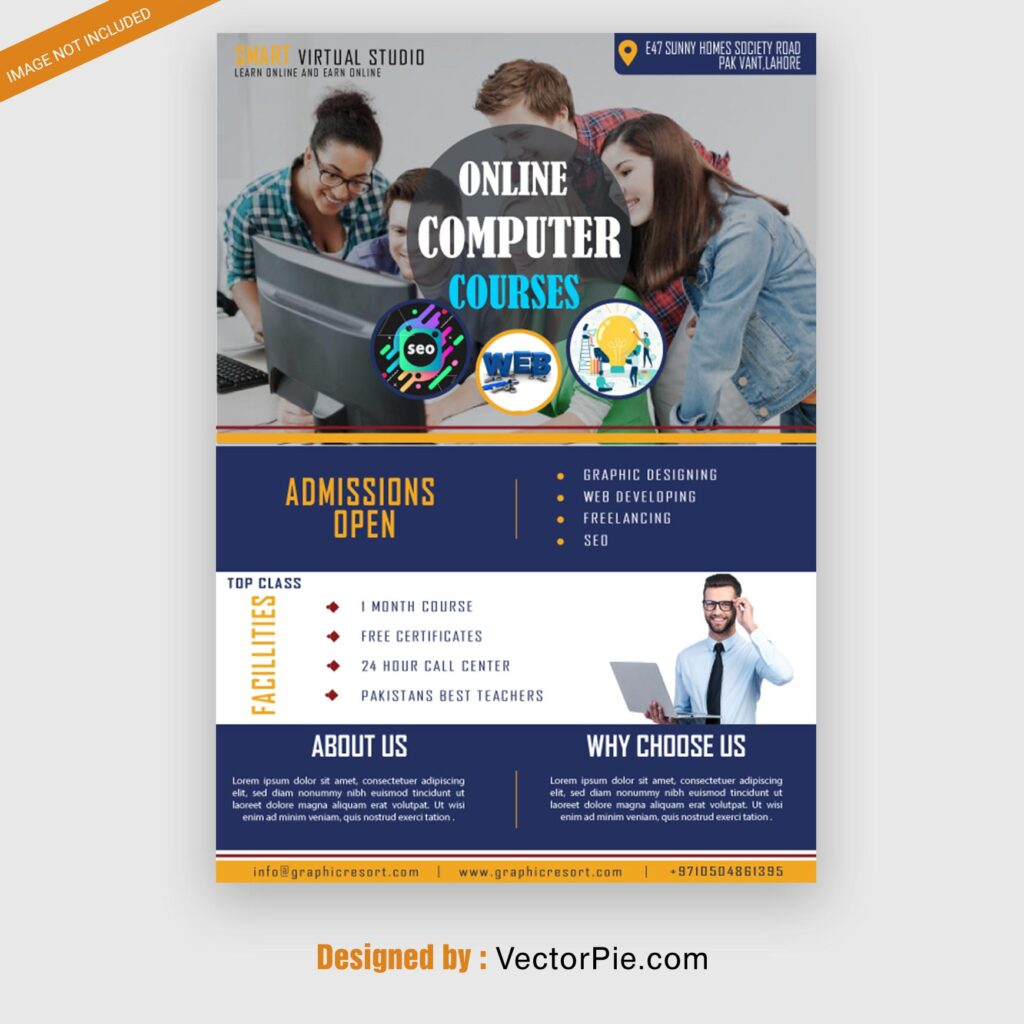 onilne Computer course Flyer design From Vectorpie preview